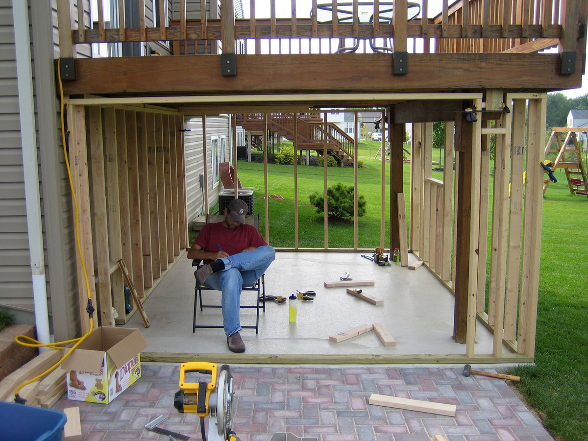 panofish building a shed under a deck - Patio Under Deck